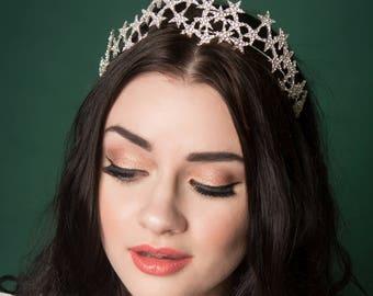 Vintage Style Diamante Star Tiara Bridal Wedding Crown Tiara