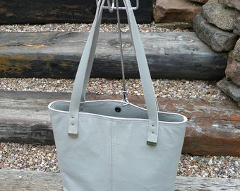 Gray leather tote , leather shoulder bag, ladies tote bag