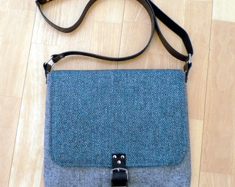 Teal & gray wool tweed crossbody bag, shoulder bag with leather strap and buckle fastener