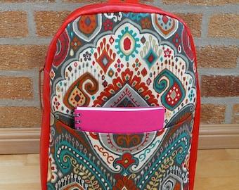 Red vinyl backpack, red teal & grey paisley fabric rucksack