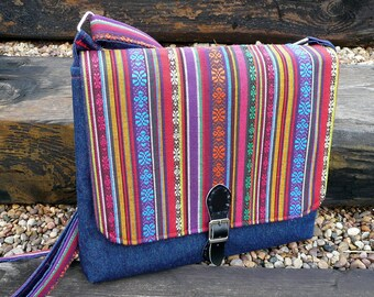 Rainbow crossbody bag, denim Boho shoulder bag, Ikat hippie cotton messenger bag, festival bag