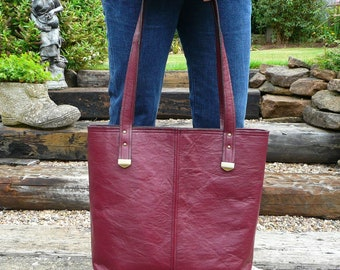 Leather tote bag, maroon real leather shoulder bag