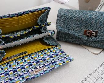 NCW necessary clutch wallet, teal and grey wool tweed ladies purse