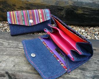 Rainbow & blue denim NCW, festival wallet, Ikat cotton purse, denim purse,