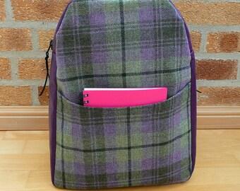 Backpack, purple vinyl rucksack with purple & green Scottish wool tweed