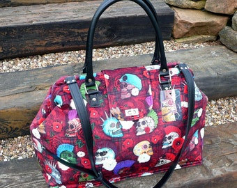Steampunk weekender bag, day of the dead, Mary Poppins carpet bag, red velvet overnight bag