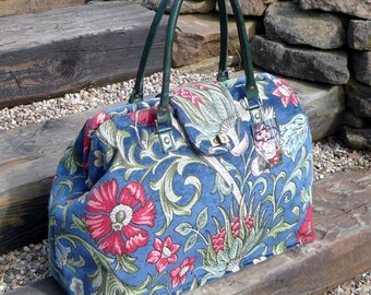 Mary Poppins style weekender carpet bag, red, green & blue floral bag