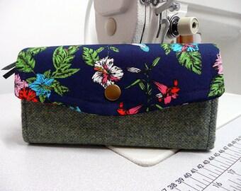 NCW, necessary clutch wallet, green wool tweed ladies purse, credit card wallet