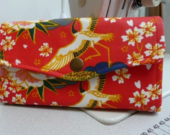 Japanese floral NCW , necessary clutch wallet, 12 card slot wallet, ladies purse