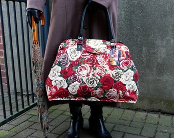 Rose tapestry Mary Poppins style weekender bag, carpet bag, overnight travel bag
