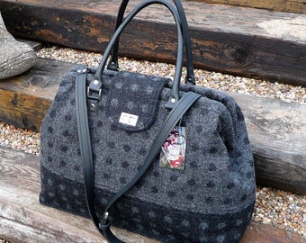 Charcoal and black spot wool tweed weekender bag, Mary Poppins style carpet bag