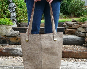 Leather tote handbag, women's leather shoulder bag, taupe leather top handle bag
