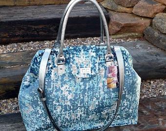 Mary Poppins carpet bag, teal & silver velvet weekender bag