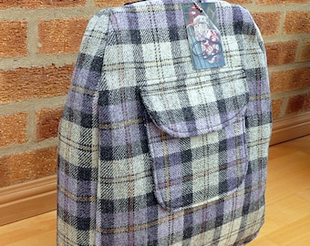 Backpack, gray and purple wool tweed rucksack with back zipper and front pocket