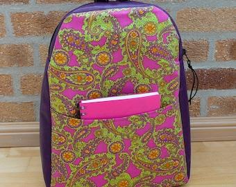 Backpack, purple vinyl & green paisley cotton rucksack