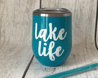 Lake Life Wine Tumbler - Aqua 12oz Double Wall Stainless Steel Wine Tumbler - Anchor Wine Tumbler with Straw & Lid