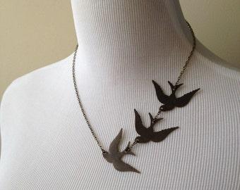 These Three Birds Necklace II - Bird Tattoo Necklace - Three Ravens Necklace