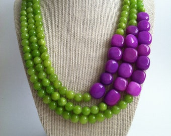 Donatella Necklace -  Lime Green and Purple Color Blocked Triple Strand Necklace