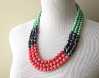 Pink, Teal, Black and White Color Blocked Triple Strand Statement Necklace - Teal and Pink Statement Necklace - Bianca Collection Necklace