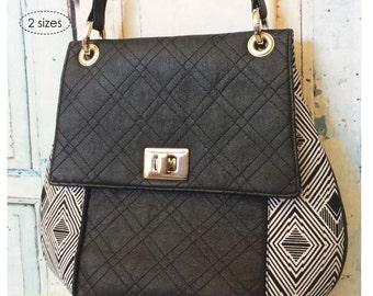Sewing pattern: Digital, Belinda Bag, 2 sizes, shoulder bag, purse, handbag, pdf, download, flap, hardware, grommets, small bag, evening,