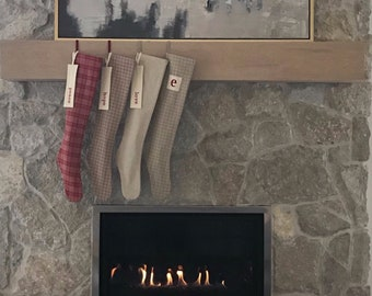 Nordic Woodland Christmas Stocking, Natural Forest Mushroom Personalized Holiday Stocking, Modern Red Plaid, Neutral Taupe Check, Farmhouse