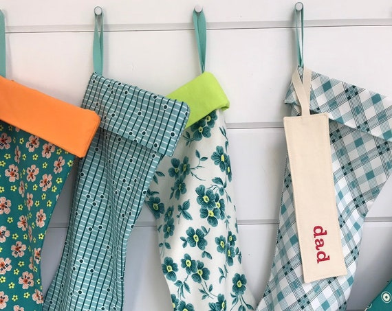 Let's go to the HOP! Retro Plaid, Boho Floral, Modern Stripe, Polka Dot Personalised Christmas Stocking, Teal Bohemian Holiday Monogram Name