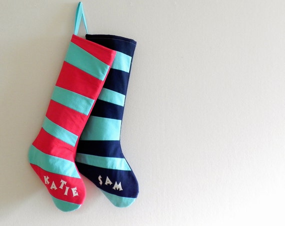 Personalized Christmas Stocking Personalized Stocking, Kids Stockings Family Stockings, Modern Striped Boy Girl Holiday Inspired by Dr Seuss