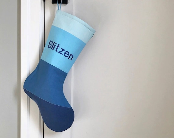 Christmas Gift for Him: Modern Personalized Christmas Stocking Shown in Blue Christmas Color for Dad Boy Men Son Grandpa Husband, Wonderland