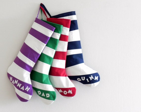 Quilted Personalized Christmas Stocking Personalized Stocking, Kids Family Stockings, Modern Wonky Striped, Boys Girls, Inspired by Dr Seuss
