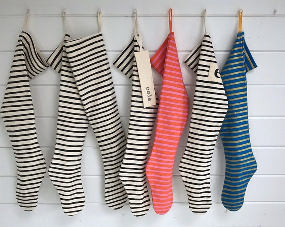 Wiggle Stripe Christmas Stocking, Neutral Black and White, Blue Gold Pink Orange, Long Modern Scandinavian Holiday, Boy Girl Family, Nordic