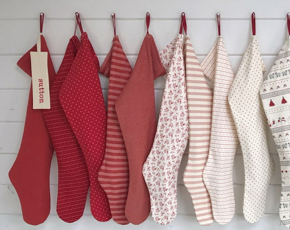 Nordic Sweet Holiday Stocking: personalised long family Christmas stockings, custom striped farmhouse socks in soft Scandinavian country red