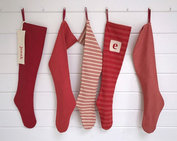 Long Scandinavian Personalized Christmas Stocking, Modern Red Striped Holiday Stocking for Boys, Rustic Farmhouse, Country Christmas, Nordic