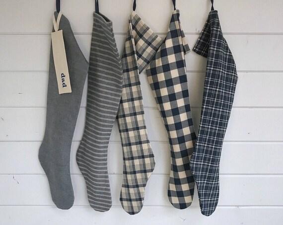 Farmhouse Christmas Stocking, Long Personalized Denim Blue Holiday Sock, Modern Scandinavian Stripe Buffalo Check Plaid, Nordic Hygge Lake