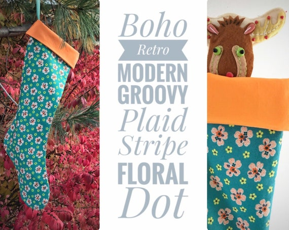 Turquoise Flowered Holiday Stocking, Modern Orange Floral Christmas Stocking for Mom Nana Grandma, Boho Baby Girl First Christmas, Sock Hop