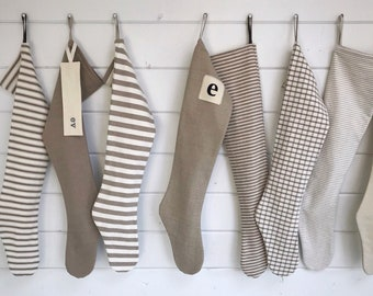 Nordic Natural Christmas Stocking: personalized Scandinavian holiday stocking, long simple farmhouse ticking stripe & plaid, modern neutrals