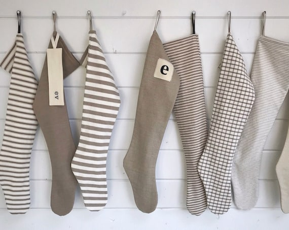 Simple Natural Farmhouse Christmas Stocking, Personalized Scandinavian Holiday Stocking, Long Tan Gold Ticking Stripe Plaid, Nordic Neutrals