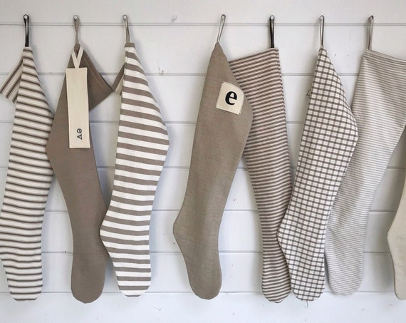 Simple Natural Farmhouse Christmas Stocking, Personalized Scandinavian Holiday Stocking, Long Soft Ticking Stripes & Plaid, Nordic Neutrals