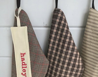 Nordic Twig Christmas Stocking: personalized holiday stocking in neutral menswear stripes checks & plaids, modern natural woodland wovens