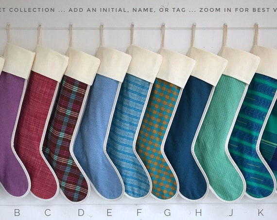 Large Chalet Christmas Stocking, Personalized Christmas Stocking Cuff, Colorful Plaid Stripe, Monogram Initial Embroidered Name Tag, Holiday