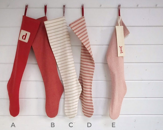 Soft Red & Cream Striped Holiday Stocking, Long Custom Scandinavian Christmas Stocking Personalised, Family Country Farmhouse, Nordic Sweet