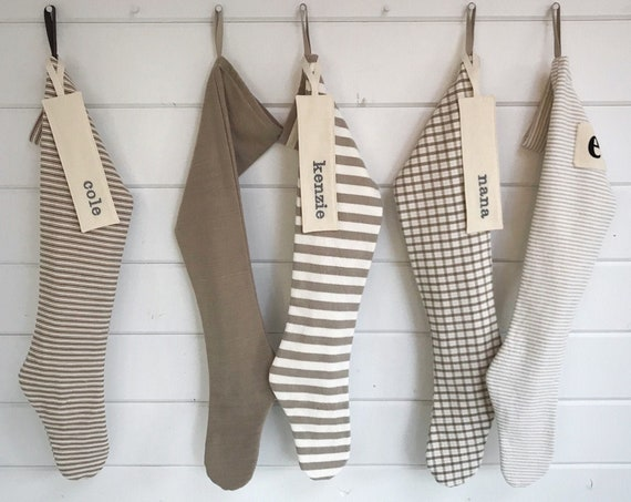 Simple Natural Farmhouse Christmas Stocking, Personalized Scandinavian Holiday, Long Woodland Ticking Stripes Solids Plaid, Nordic Neutrals