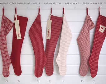 Long Nordic Hygge Holiday Stocking, Simple Red & White Personalized Christmas Stocking in Modern Scandinavian Stripes Checks Farmhouse Plaid