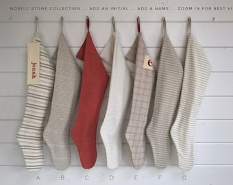 Nordic Stone Farmhouse Christmas Stocking, Personalized Winter White Holiday Stocking, Long Simple Modern Neutral Woodland Taupe Grey Stripe