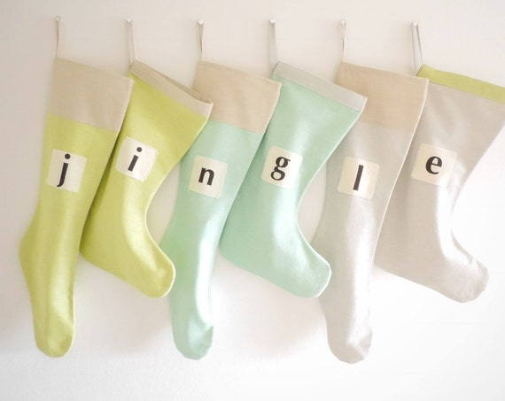 Personalized Christmas Stocking Coastal Christmas Stocking Personalized, Beach Neutral Sea Green Aqua Blue Taupe Grey Kids Boy Girl Family