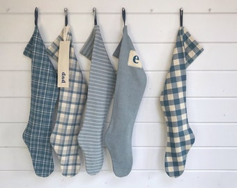 Long Chambray Nordic Hygge Christmas Stocking, Personalized Pond Blue Holiday Sock, Modern Scandinavian Farmhouse Stripe Plaid Buffalo Check