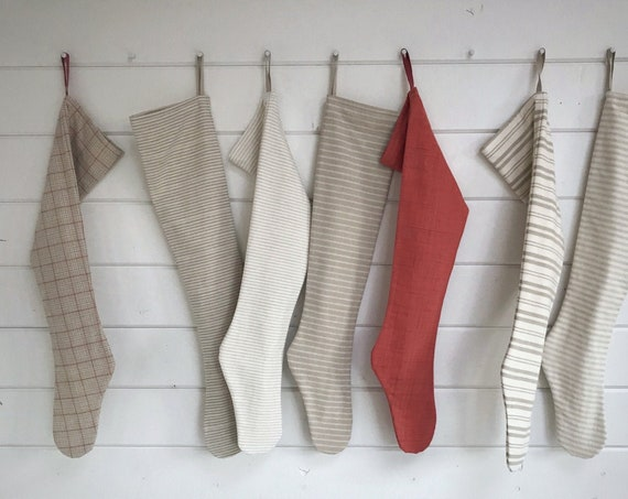 Long Winter White Farmhouse Christmas Stocking, Modern Personalized Stocking Simple Taupe Grey Woodland Holiday Stripe, Neutral Nordic Stone