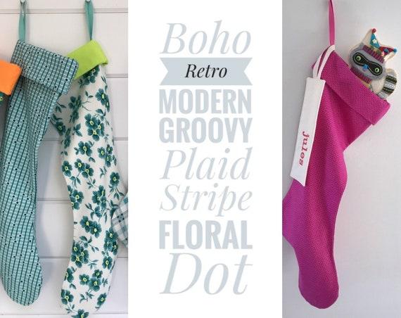 Boho . Retro . Modern . Groovy . Plaid . Stripe . Floral . Dot! Christmas Stockings in Nostalgic 1950s Fuschia Pink Turquoise Teal, Sock Hop