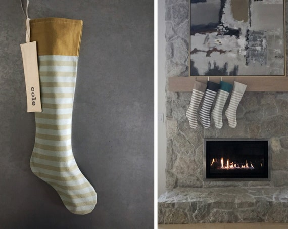 Neutral Striped Christmas Stocking, Personalized Embroidered Name on Cuff or Monogram Initial, Charcoal Grey Natural Teal White Green