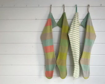 Sea Green with Aqua, Taupe & Grey on a Long Striped Scandinavian Christmas Stocking, Personalised Holiday Stocking, Modern Nordic Farmhouse