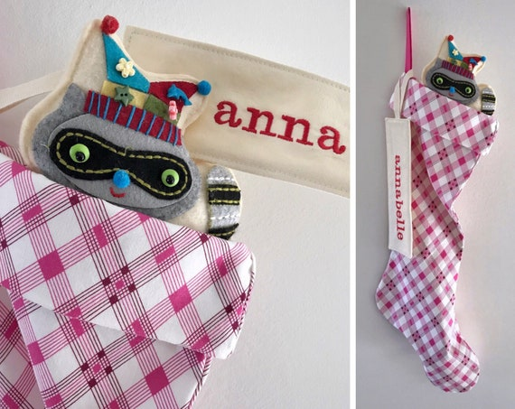 Pretty Pink Plaid Custom Christmas Stocking, Personalized Name Tag or Monogram Initial, Bright Colorful Christmas, Modern Holiday, Sock Hop